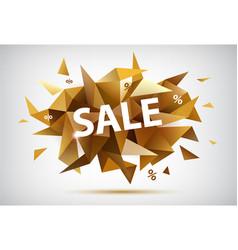 Sale faceted banner golden modern style vector