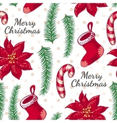 Seamless pattern with boots candy and christmas vector