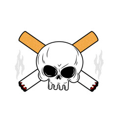 skull and crossbones cigarettes smoking leads to vector image