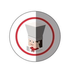 Sticker lego with portrait male chef vector