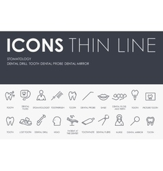Stomatology thin line icons vector