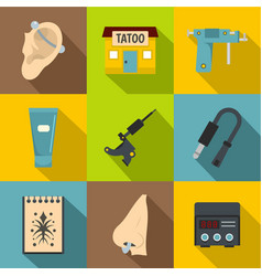 Tattoo shop icons set flat style vector