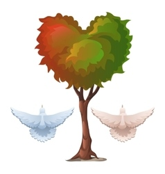 Tree with foliage in the shape of heart and doves vector