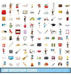100 intention icons set cartoon style vector