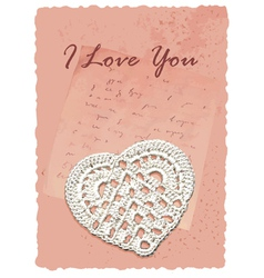 Vintage manuscript romantic card with heart vector