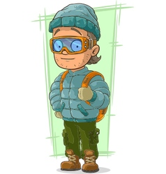Cartoon cool tourist in cap and vector