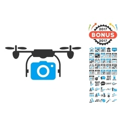 Camera drone icon with 2017 year bonus pictograms vector