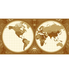 World map with retro-styled hemispheres vector image