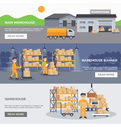 Warehouse inside and outside horizontal banners vector
