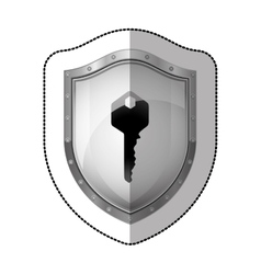 sticker metallic shield with silhouette key vector image