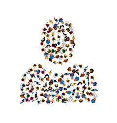 A group of people in a shape of person silhouette vector