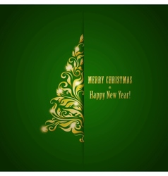 Stylized fir on a green background vector image