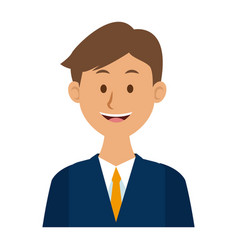 Portrait of a young man character on white vector