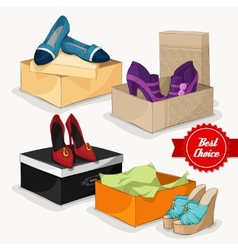 Fashion collection of womans shoes vector image