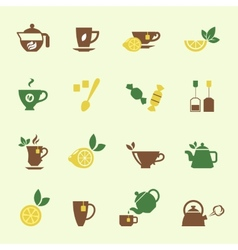 Attractive tea time icon set designs vector
