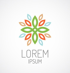 Floral logo template color leaves ornament concept vector