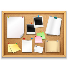 Cork board with papers vector
