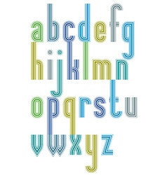 Poster colorful striped font lower case letters vector