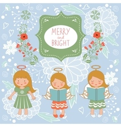 Cute christmas card with happy angels and vector