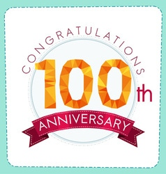 colorful polygonal anniversary logo 3 100 vector image