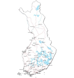 Finland black white map vector