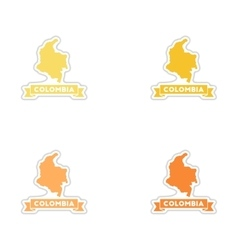 Set of paper stickers on white background columbia vector
