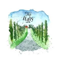 Watercolor italy landscape vector