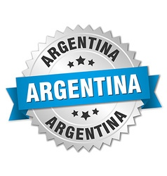 Argentina round silver badge with blue ribbon vector