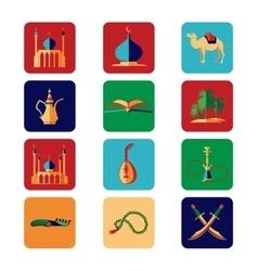 Arabian icons set vector
