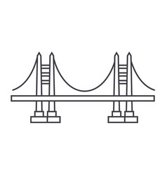 bridge line icon sign on vector image