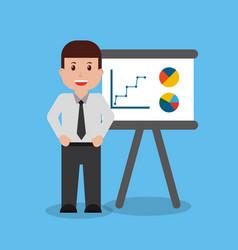 businessman worker standing board presentation vector image