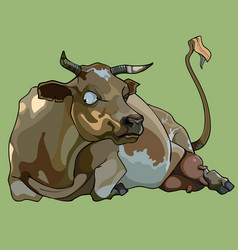 Cartoon funny cow lies and looks aside vector