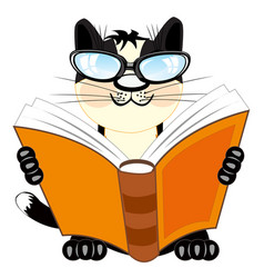Cat with book vector