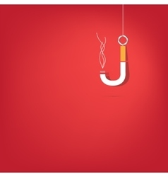 Cigarette fishhook on white vector image