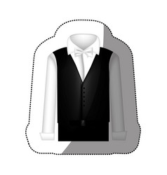 Color sticker suit with shirt waistcoat and pants vector