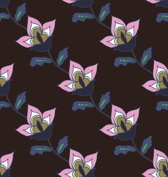 Dark hand drawn floral pattern vector image vector image