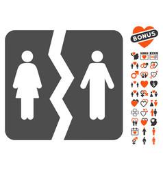 divorce icon with love bonus vector image