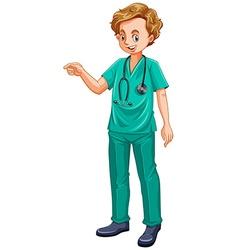 Doctor in green uniform vector image vector image