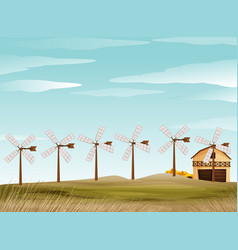 Farm scene with windmill and barn vector