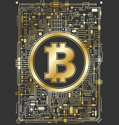 Golden bitcoin digital currency background vector