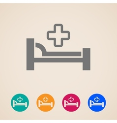 Icons with bed and cross hospital sign vector
