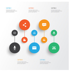internet icons set collection of publish message vector image vector image
