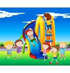 Many children playing on slide vector image vector image