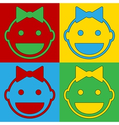Pop art baby face icons vector image