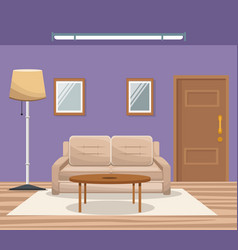 Room home interior sofa mirror floor lamp door vector