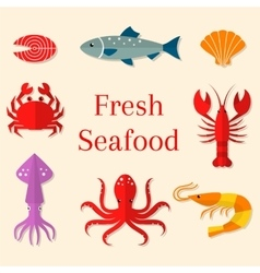 Seafood flat icons set vector