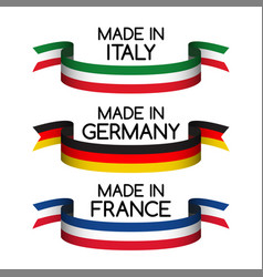 set ribbons made in germany made in france vector image vector image
