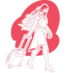 Sketch of Woman Tourist Travelling vector image vector image