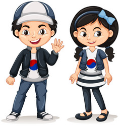 South korean boy and girl vector