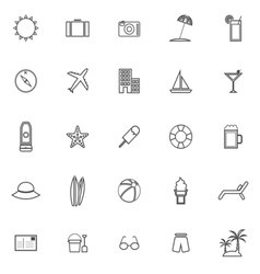 Summer line icons on white background vector
